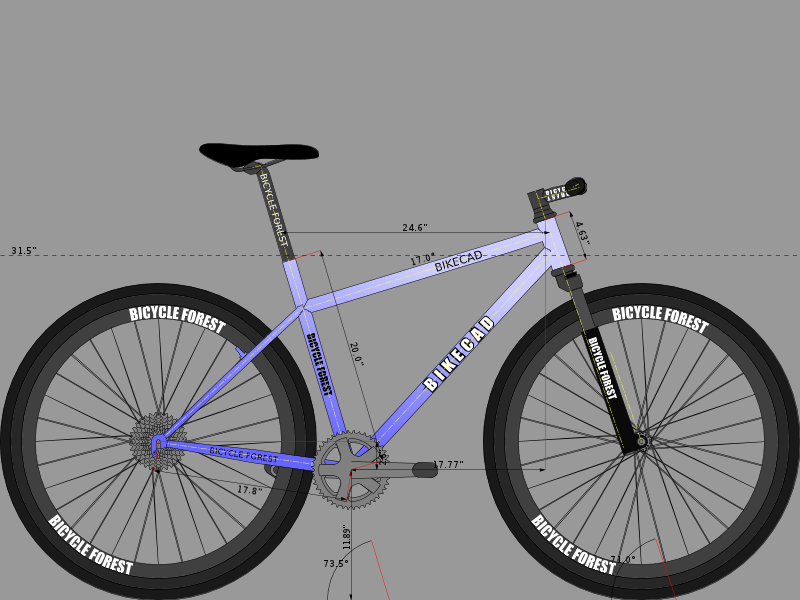 This model is from published measurements and some rough/visual estimates: the seat tube extensions is a guess, and I couldn't find wheelbase measurements.  As a result, there is ambiguity in the seattube/headtube relationship.  If you really want to make this precise, we need the seattube extension and toptube angle.